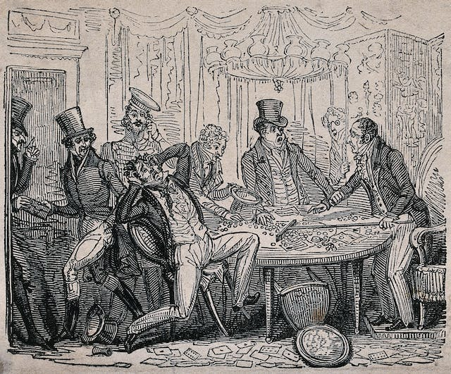 An engraving showing a man holding his head in despair as the croupier claims all his chips in the gambling game.