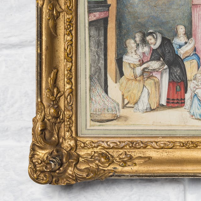 Photograph of a section of a Dutch watercolour in an ornate gilded frame.  The painting depicts a 17th century birthing scene. In the top right of the frame is a lady in a period blue dress sitting up in a pink four-poster bed, talking to a maiden on her left side who is holding a baby wrapped in an orange blanket.  There are four other ladies in the room; the central figure in a black dress, red skirt, and white ruff collar is leaning over to another lady in a golden dress on her right handing out food on a silver tray.  In the bottom right of the scene is a lady in a pink and blue dress interacting with a small child.