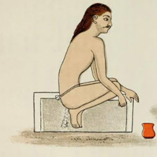 A yogi having an enema