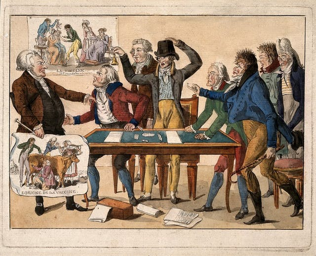 The Image shows seven members of the french committee on vaccination shouting at a man called Tapp, who is a health officer that resists the new discovery. They lean over a table and all shout at him angrily. They are all wearing 19th century french attire. Tapp holds a poster that reads