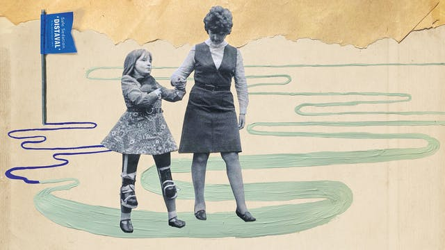 Mix media artwork made up of archive photographs and painted elements. The image shows a black and white photograph of a mother and daughter holding hands, walking along. They have been cut out from the background of the original photograph. The young girl is holding a guinea pig to her chest with her right hand and holding her mother