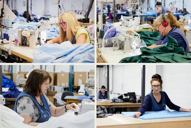 A grid of four photographs. Each image shows a different woman working at a sewing machine surrounded by light blue, green or white fabric.