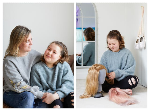 Photographic diptych. The image on the left shows a young girl and her mother sat on a sofa in an embrace and holding hands. The young girl is looking to camera with a quiet smile on her face. Her mother is also smiling looking down towards her daughter. The image on the right shows the same young girl siting on the floor of her bedroom, cross legged. In front of her on the floor are two wigs. One of them is blonde and is sitting on a mannequin head. The other is a light pink colour and is lying on the floor. The girl is in the process of caring for the blonds wig with strands of hair in her hands and she