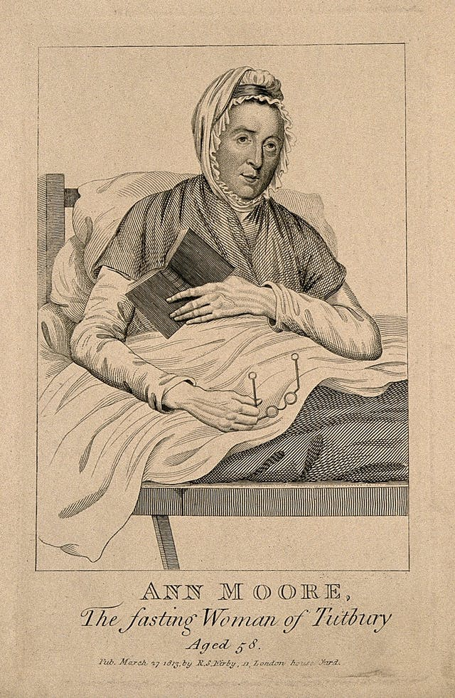 Black and white illustration of a woman sitting up in bed holding a book and a pair of glasses.