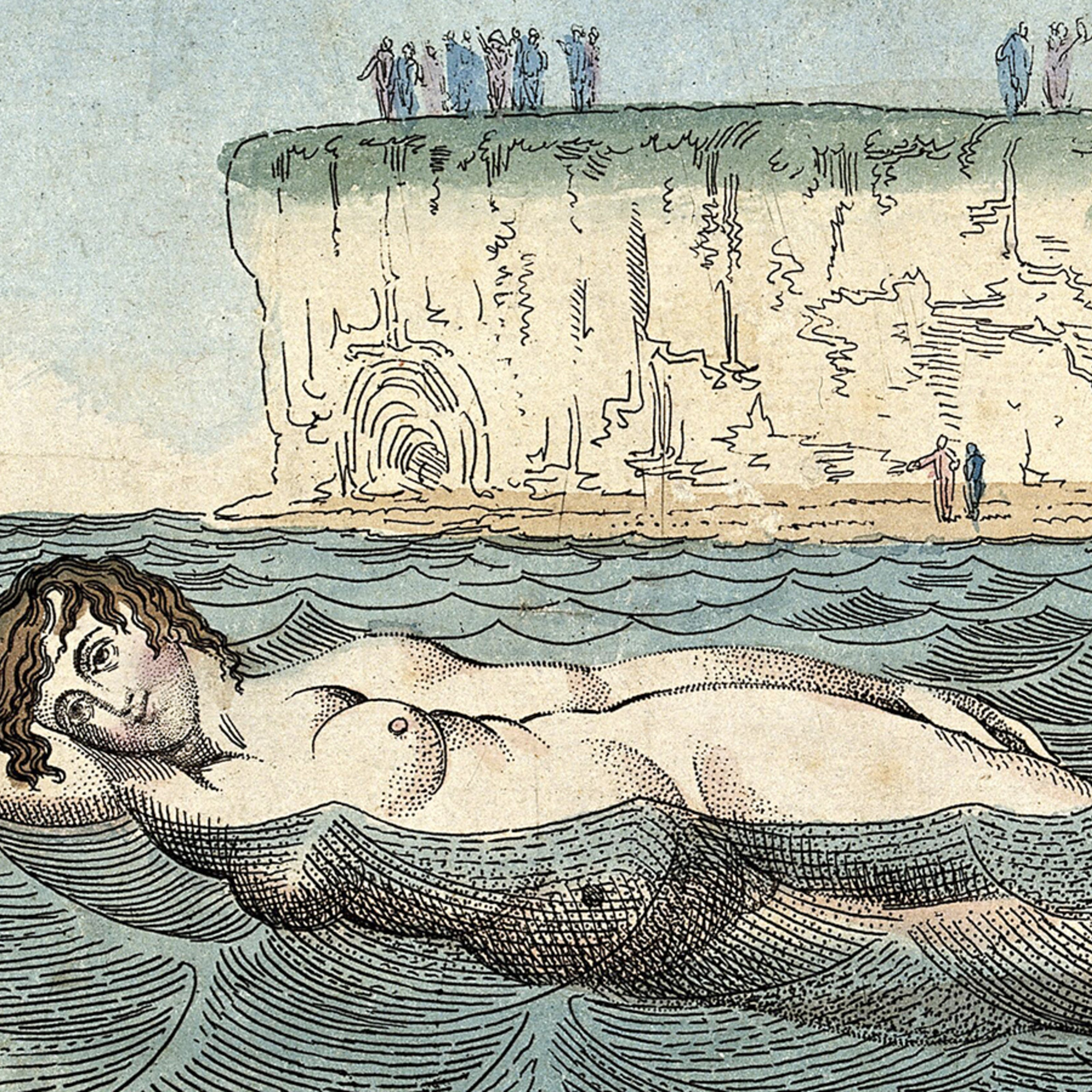 Drawing of a naked woman swimming in the sea, as distant figures stand on a cliff in the background