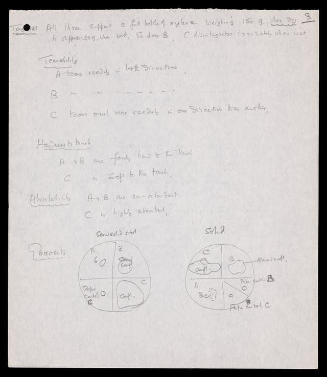 Photograph of a page of handwritten notes describing the various characteristics of toilet paper samples.