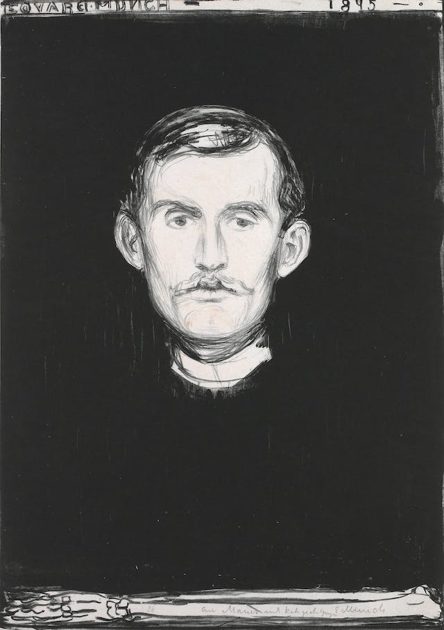 Edvard Munch, Self-portrait with skeleton arm, 1895
