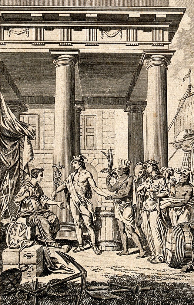 Mercury (Hermes) as god of trade presenting the continents to Britannia