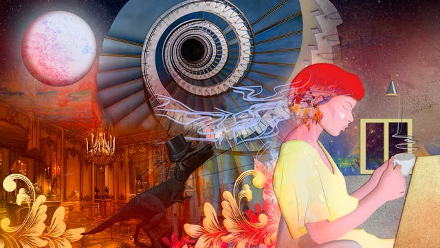 Digital artwork using a colourful, fantastical approach. The artwork shows a woman in profile sat at a table on the right hand side holding a steaming tea cup in her hands, eyes closed. Behind her is a cosmic, star scattered background. In the centre and to the left of the image is a montage of elements, a large spiral staircase, a dinosaur wearing a top hat, a large ornate dining room. In the top left corner is a moon-like orb. Swirling over and around her head, and out to the edges of the image are floral motifs and squiggly lines of reds, yellow, oranges and blues. The whole scene has a dream-like feeling to it.