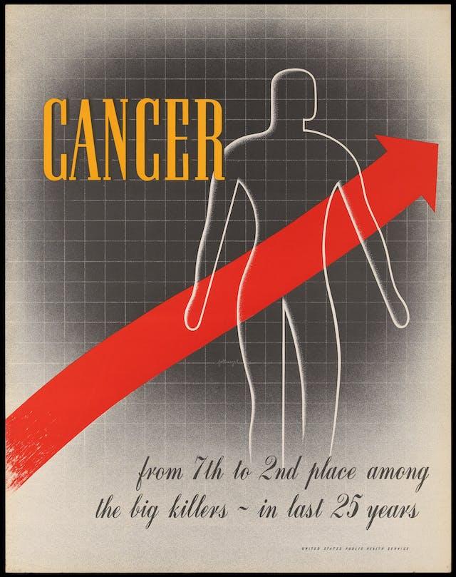 图中的红色箭头指向人体上方,表示美国癌症的增加