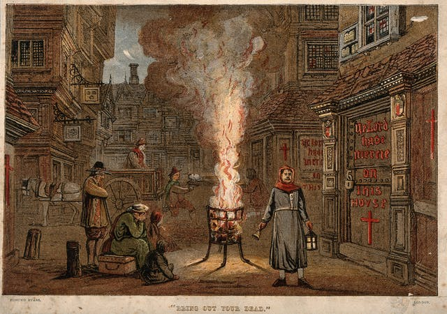 A street during the Great Plague in London, 1665, with a death cart, red cross on a door, fire pit, and mourners.