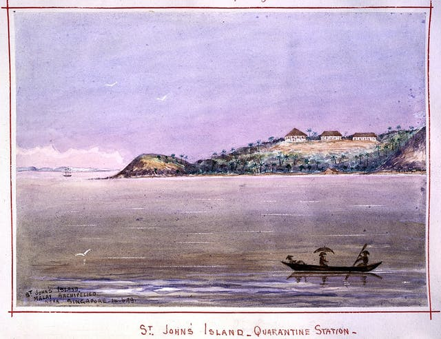 The quarantine station on St John's Island, Malaysia, John Edmund Taylor, 1879
