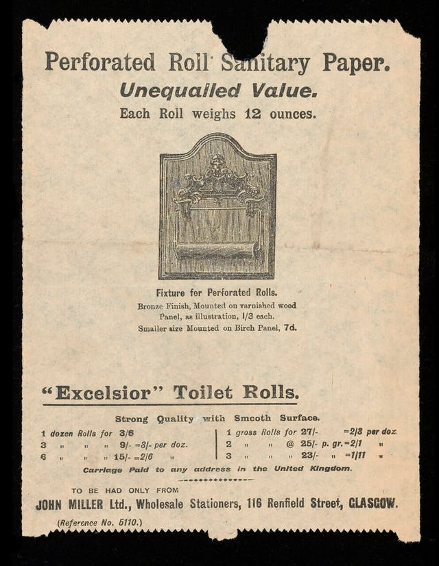 "Photograph of a toilet paper sample sheet, bearing the title ""Perforated Roll Sanitary Paper. Unequalled Value"" and showing an image of a fixture to hold rolls."