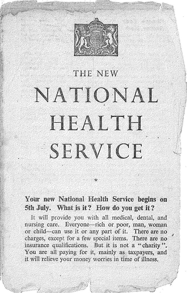 """Leaflet with British crest at the top titled """"The New National Health Service"""", which says that it will answer questions such as """"What is it? How do you get it?"""""""