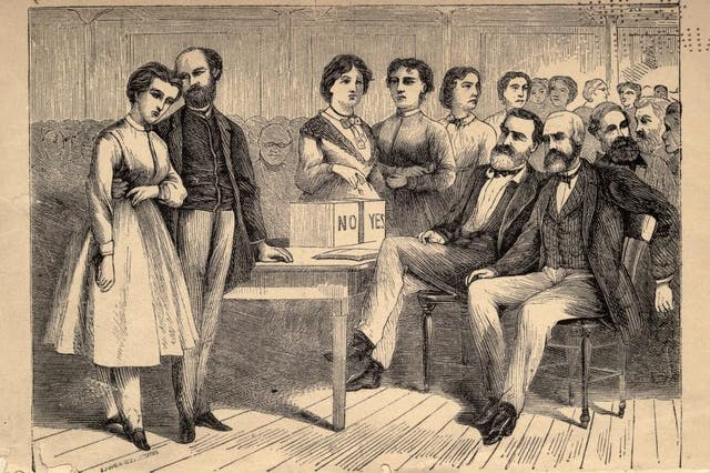 Black and white illustration of a group of men and women voting.