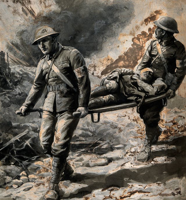 Colour painting showing two stretcher bearers removing a wounded man under fire, all in military dress.