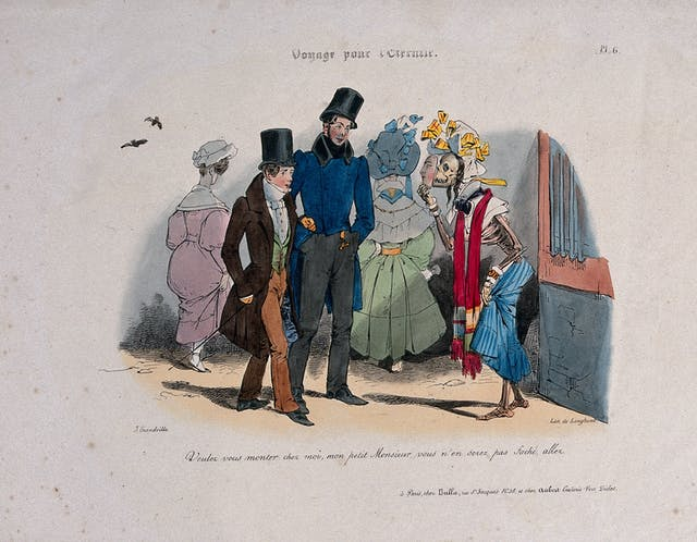 Two young men are approached by a prostitute: she is a clothed skeleton holding a made-up mask in front of her face, representing syphilis. Lithograph by J.J. Grandville, 1830