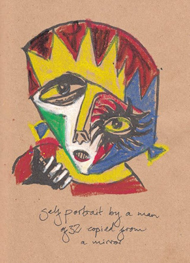 A brightly coloured sketch of a distorted human face.