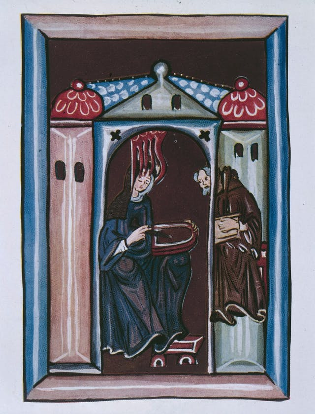 Image of colour painting with a woman and a monk inside a church