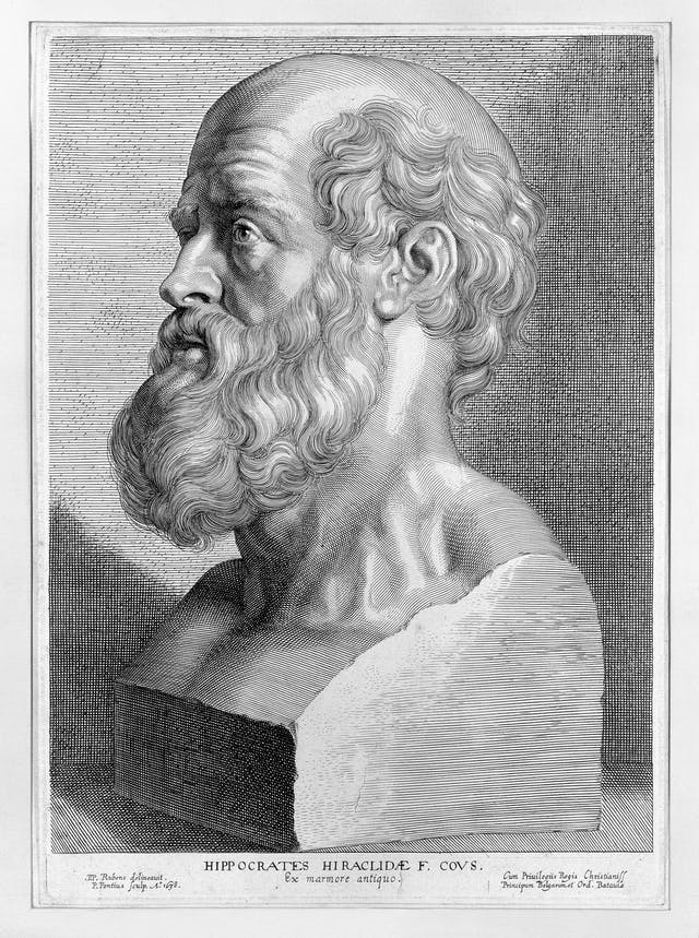 Black and white engraving showing the bust of a balding man with a beard.