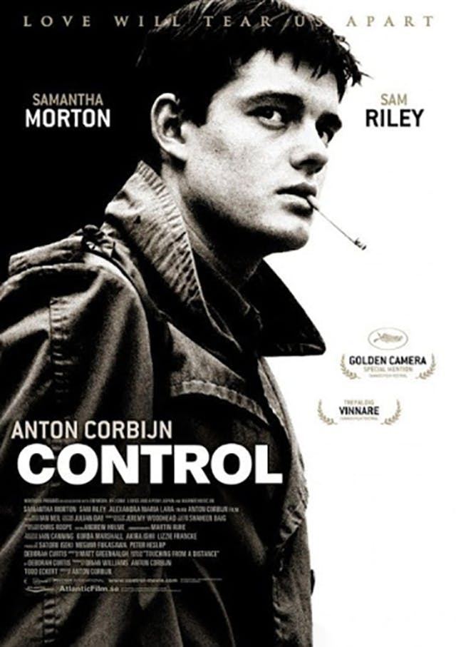 Publicity poster for the film Control directed by Anton Corbijn featuring Sam Riley with a cigarette hanging from his lips
