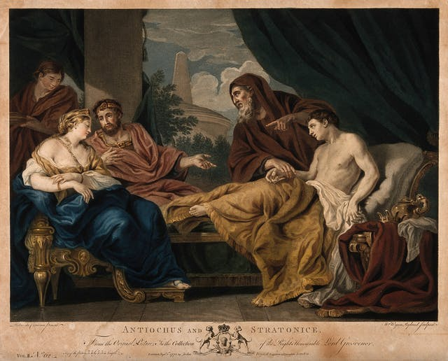 Etching painted in watercolours depicting the physician Erasistratus taking the pulse of a shirtless Antiochus, who is lying on a daybed gazing towards Stratonice. The doctor points at her to indicate that lovesickness for her is the cause of Antiochus
