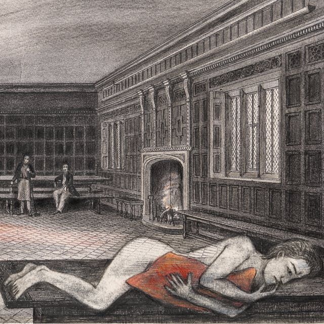 Pencil artwork drawn over an engraving depicting a wooden panelled room with two men in the distance looking towards an unclothed woman lying on her side on a table, clutching a pillow to her front. The whole scene is black and white apart from the pillow and the rays of light streaming in through a window which are tinted red.