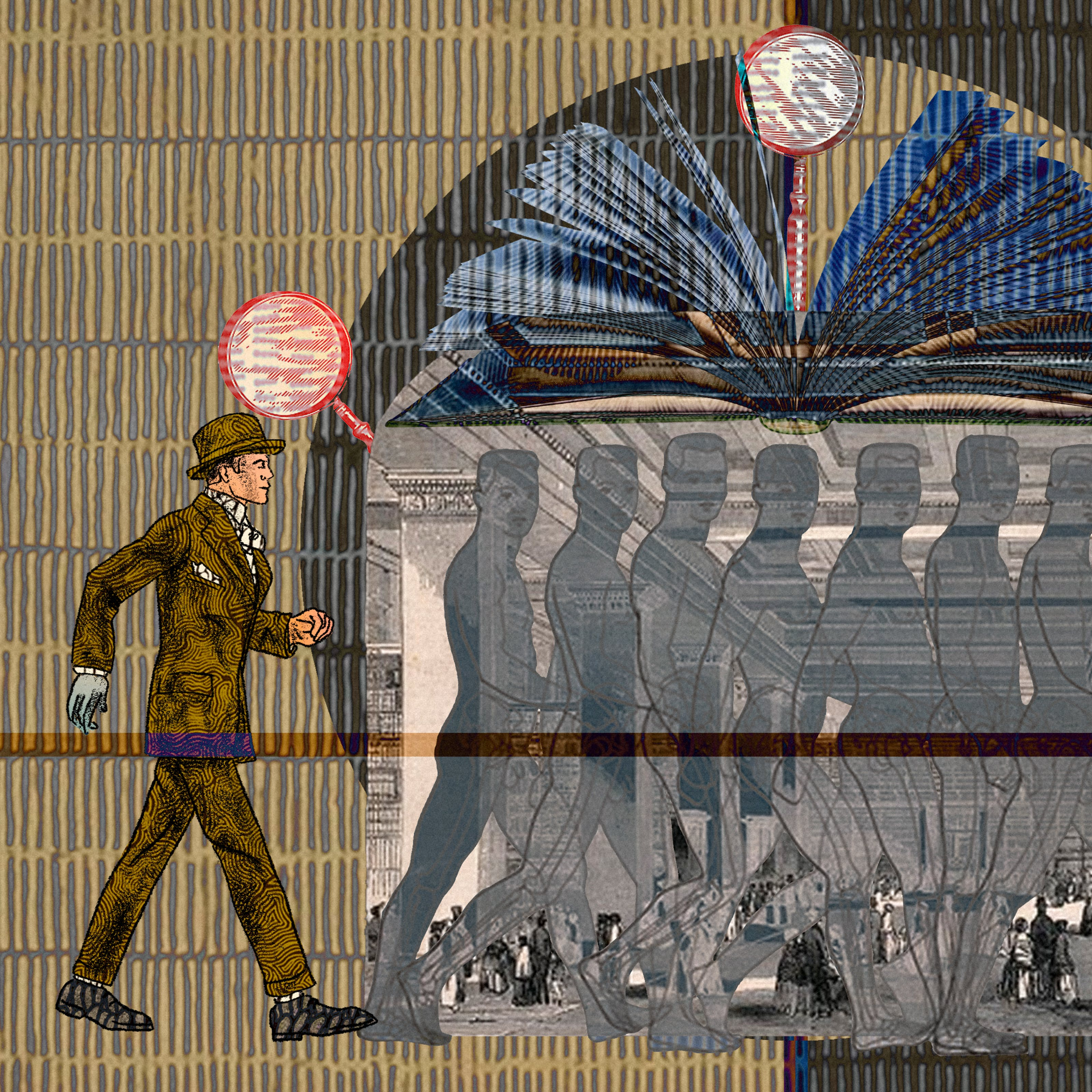 An abstract digital illustration depicting a young Victorian man walking into the entrance of a library and being transformed into an ill looking, tired and diseased old man. In the background is an archive image of a place of learning, decorated with magnifying glasses as ornaments and open book forming an arch overhead.