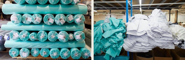 Photographic diptych. The image on the left shows stacked rolls of medical grade fabric in a light green colour. The image on the right shows stacks of part made green medical scrubs next to a pile of chef