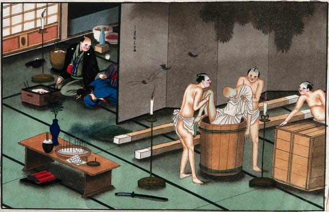 Ink drawing of Japanese men holding a corpse in a barrel surrounded with incense sticks