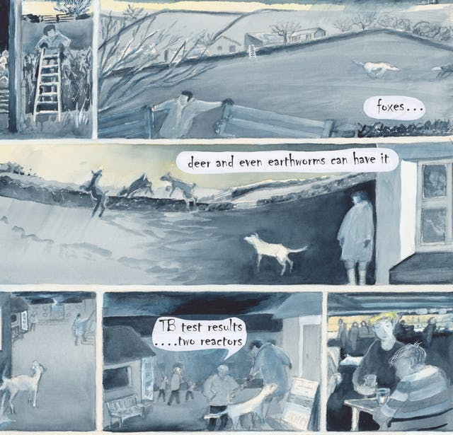 Watercolour comic with text: