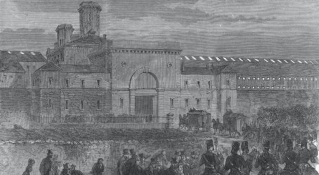 A black-and-white image from a newspaper of the outside of the Mountjoy convict prison