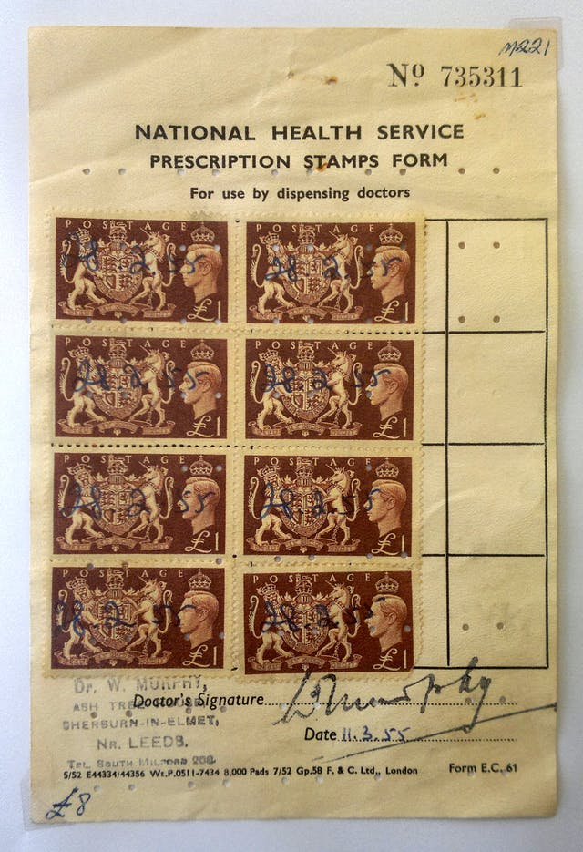A photograph of a National Health Service prescription stamps form