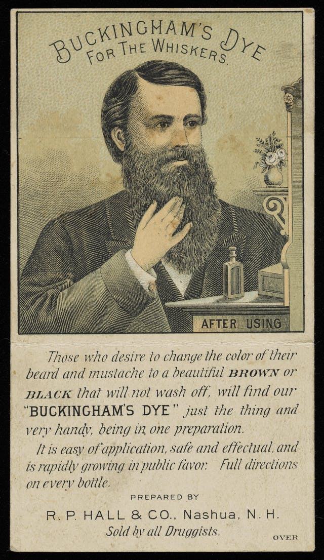 Novelty advertising leaflet showing a colour illustration of a man with a luxurious black beard (