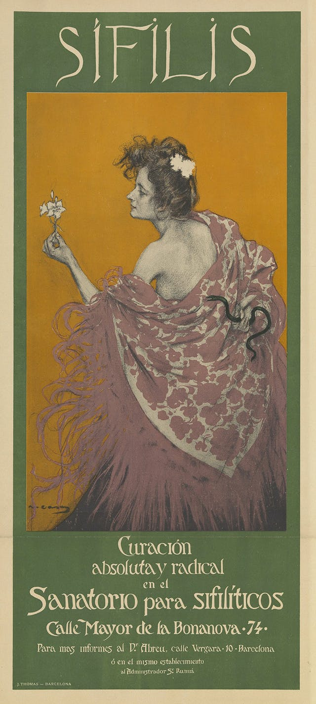 A woman representing syphilis. She holds a lily in front of her, presumably to give the appearance of innocence. On her back however, knotted into her shawl, is a snake. In the lettering, the s