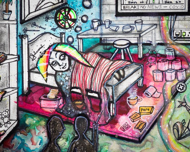 Artwork using watercolour and ink incorporating collaged words throughout the scene. The artwork shows a busy multi-coloured room. On the left hand side of the image a woman with rainbow coloured hair is lying in bed.  On the floor there are: packets of paracetamol; toilet rolls; and a toy clown juggling first aid, corona virus and pound symbols. In the foreground the silhouette of two people stand together at a distance from the bed.