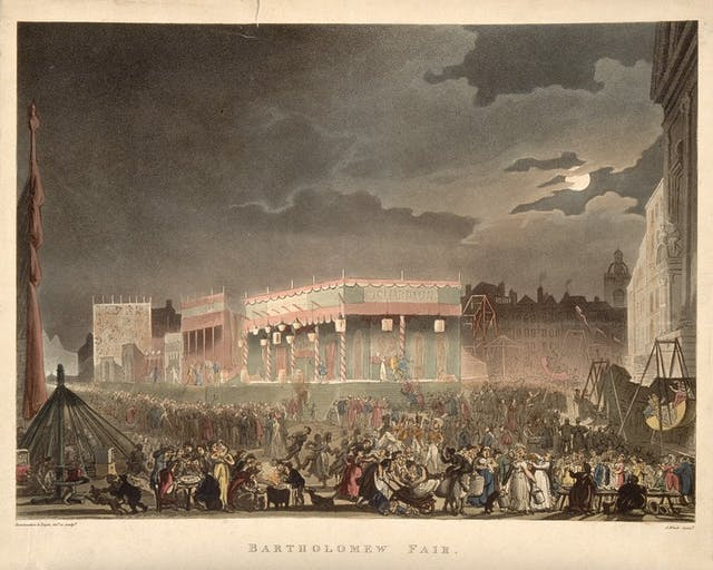 Colour illustration showing a large crowd of people gathered in an urban setting at night, with fair ground rides. The sky is dark and a full moon emerges from behind some clouds.