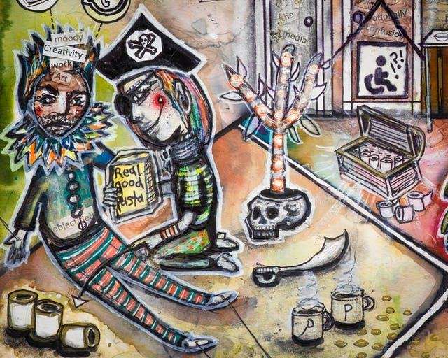 Artwork using watercolour and ink incorporating collaged words throughout the scene. The artwork shows a busy multi-coloured household room. A man dressed in a ruff and a crown sits against a wall looking tired with various icons including a disabled symbol with a wheelchair, as well as those belonging to social media joined by dotted lines above his head. On his crown are the words 'moody', 'creativity', 'work' and 'art', while on his chest is the word 'objectified'. Kneeling beside him, another person dressed as a pirate, holds a box of pasta.