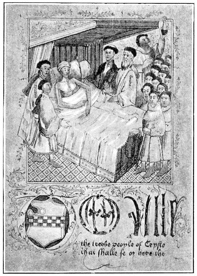 Black and white illustration of a man lying in bed surrounded by a group of men in clerical dress