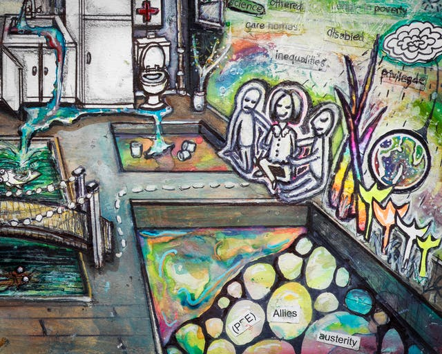 Artwork using watercolour and ink incorporating collaged words throughout the scene. The artwork shows a busy household room with a kitchenette with an overflowing sink, a toilet and a first aid box it. The right hand side of the room is multi-coloured and the wall is covered in words such as 'vulnerable', and 'disabled'. The word 'only' is circled. In front of the coloured wall, three small people are sitting besides lowered areas in the floorboards with water features as though outside. One contains the words 'PPE', 'allies, and 'austerity'