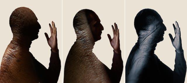 Photographic triptych. Each image shows a portrait of a man