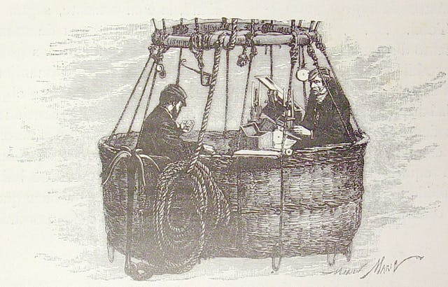 Etching showing two men sitting in the basket of a hot air balloon, surrounded by scientific equipment.