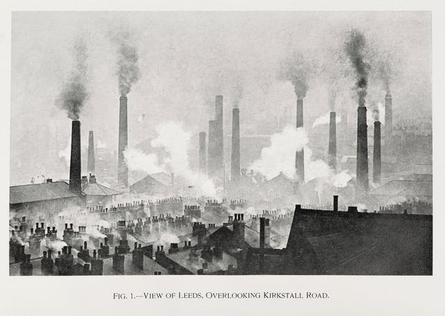 View over Leeds, showing smoking chimneys.