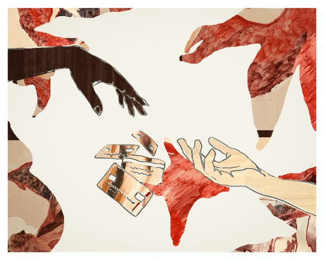 Digital artwork made up of collage elements, line drawing and textured patterns. The artwork depicts two hands reaching out towards each other, one is a dark skin tone and the other lighter. Falling between their fingers are 4 credit cards which seem to be tumbling through the air. Surrounding the hands are collaged textured shapes.The tones of the artwork are creams, rusts, browns and reds.