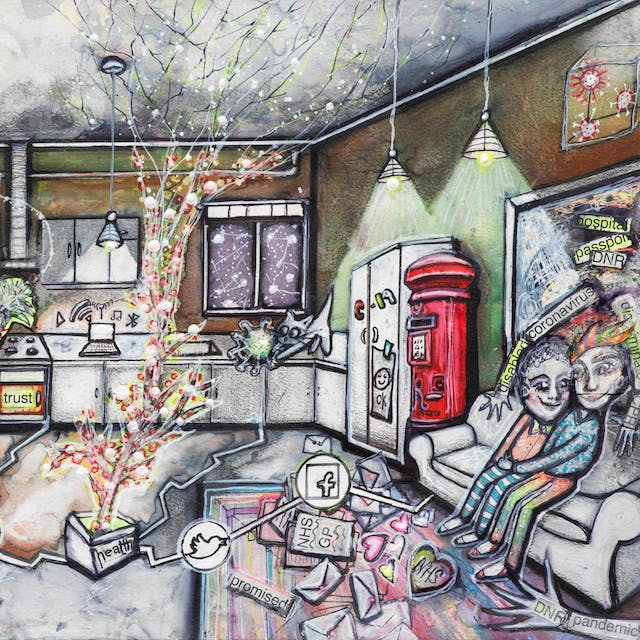 Artwork using watercolour and ink incorporating collaged words throughout the scene. The artwork shows a busy multi-coloured room separated by jagged white lines drawn across the floor incorporating social media icons in circles. In the background, there are kitchen cabinets, and windows beyond one of which there are people with coronavirus heads. On a fridge with a no access sign and a wheelchair within it, stands a screen with the letter 'N'. Red 'N' letters float in the air around it. On the worktop a cat plays with a coronavirus. In the front left hand corner of the image is a wheelchair, and above it on the wall rainbow coloured pictures. In the middle of the room, a colourful tree reaches the ceiling causing cracks to appear in it. On the right hand side of the image there is a red post box, and beside it a couple sit on a sofa cuddling with mail and love hearts around their feet. On the wall a picture frame has the words 'DNR', 'hospital' and 'passport'. Two arms with 'corona virus' on them, reach out from the picture frame attempting to embrace the couple, as does another arm from the right hand corner of the image with the word 'pandemic' on it.