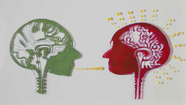 An artwork on perspex that illustrates the problems of understanding, recognition and communication for people suffering from Alzheimer