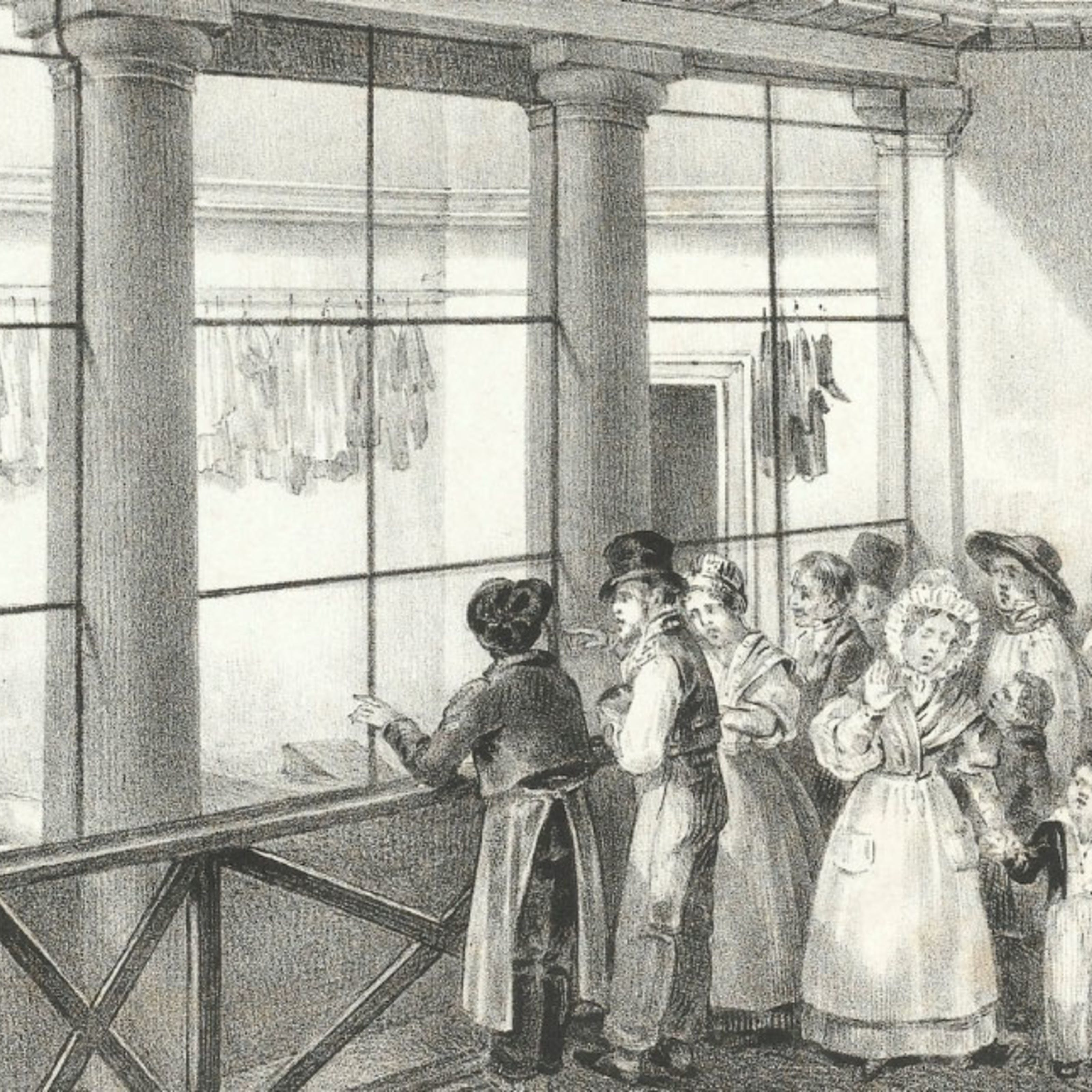 Black and white engraving of people in the 19th century viewing cadavers in a morgue in Paris