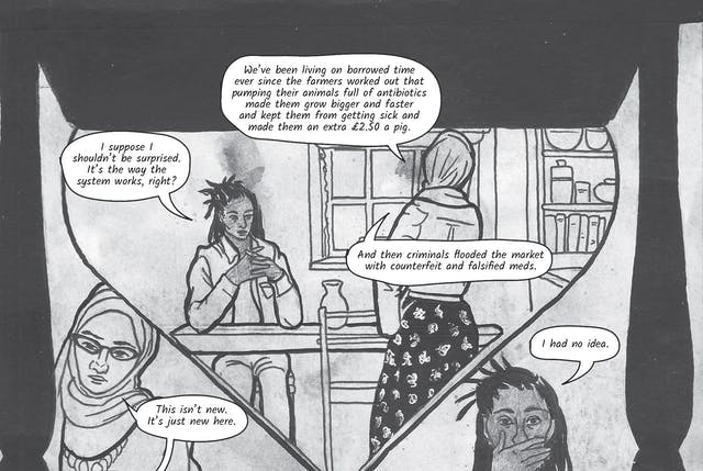 The greyscale graphic novel continues. The twelfth and thirteenth image are one large illustration  split across two images. The whole combined image shows a large hour glass shape within which the illustration shows the two women in conversation. Zoe is seated at the kitchen table and Dr Siddiqui stands on the opposite side. There are two details of the women