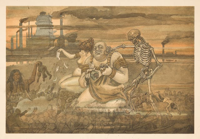 Watercolour painting of a semi naked man and woman kneeling in dirt next to a skeleton. Factory chimneys billowing smoke are in the background.