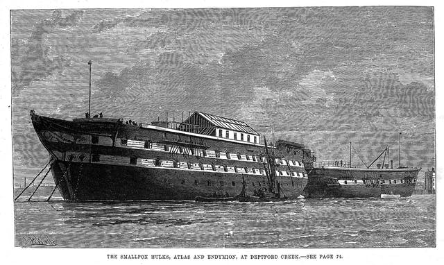 Ships at Deptford, London that were used for smallpox patients